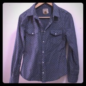Snap button down denim polka-dot shirt